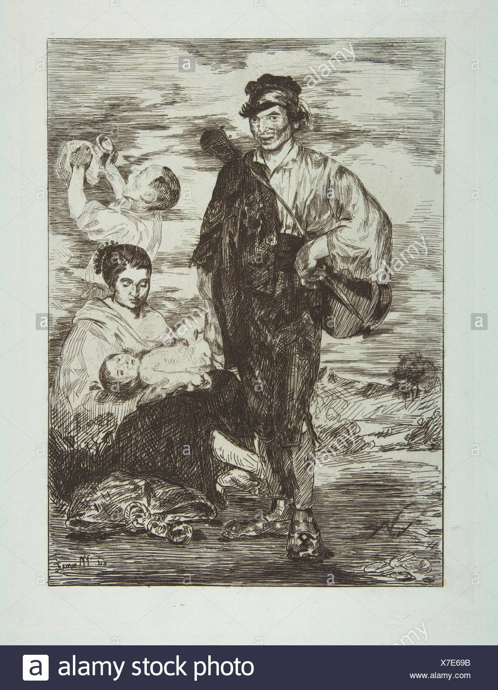 The Gypsies (Les Gitanos). Artist: Édouard Manet (French, Paris 1832-1883 Paris); Date: 1862; Medium: etching, final state (II) on blue laid paper; - Stock Image