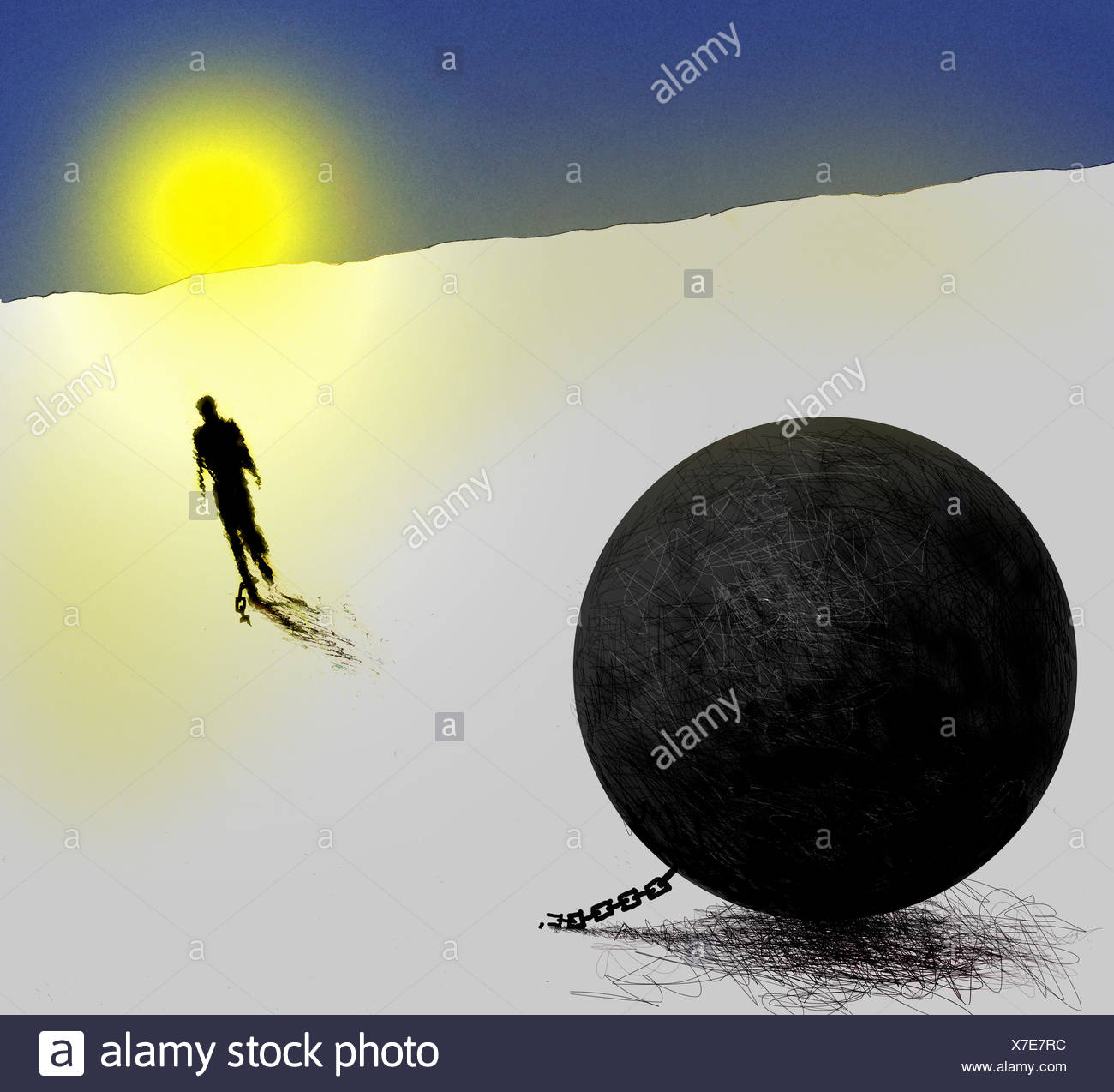 Man breaking free from ball and chain - Stock Image
