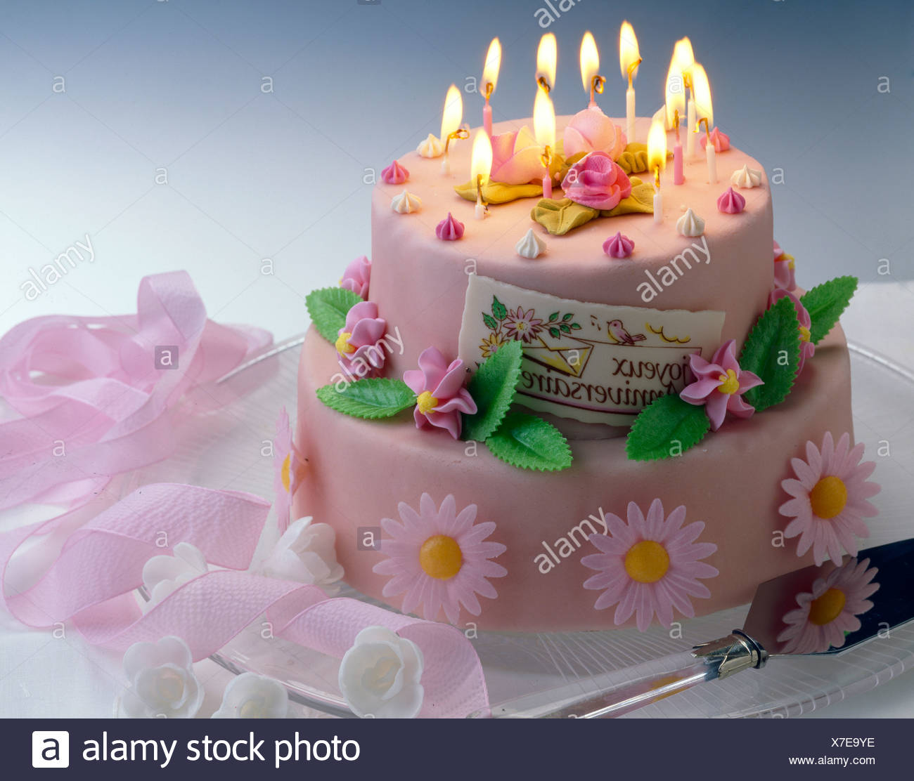 Excellent Pink Layered Birthday Cake With Candles Stock Photo 279983634 Alamy Birthday Cards Printable Nowaargucafe Filternl