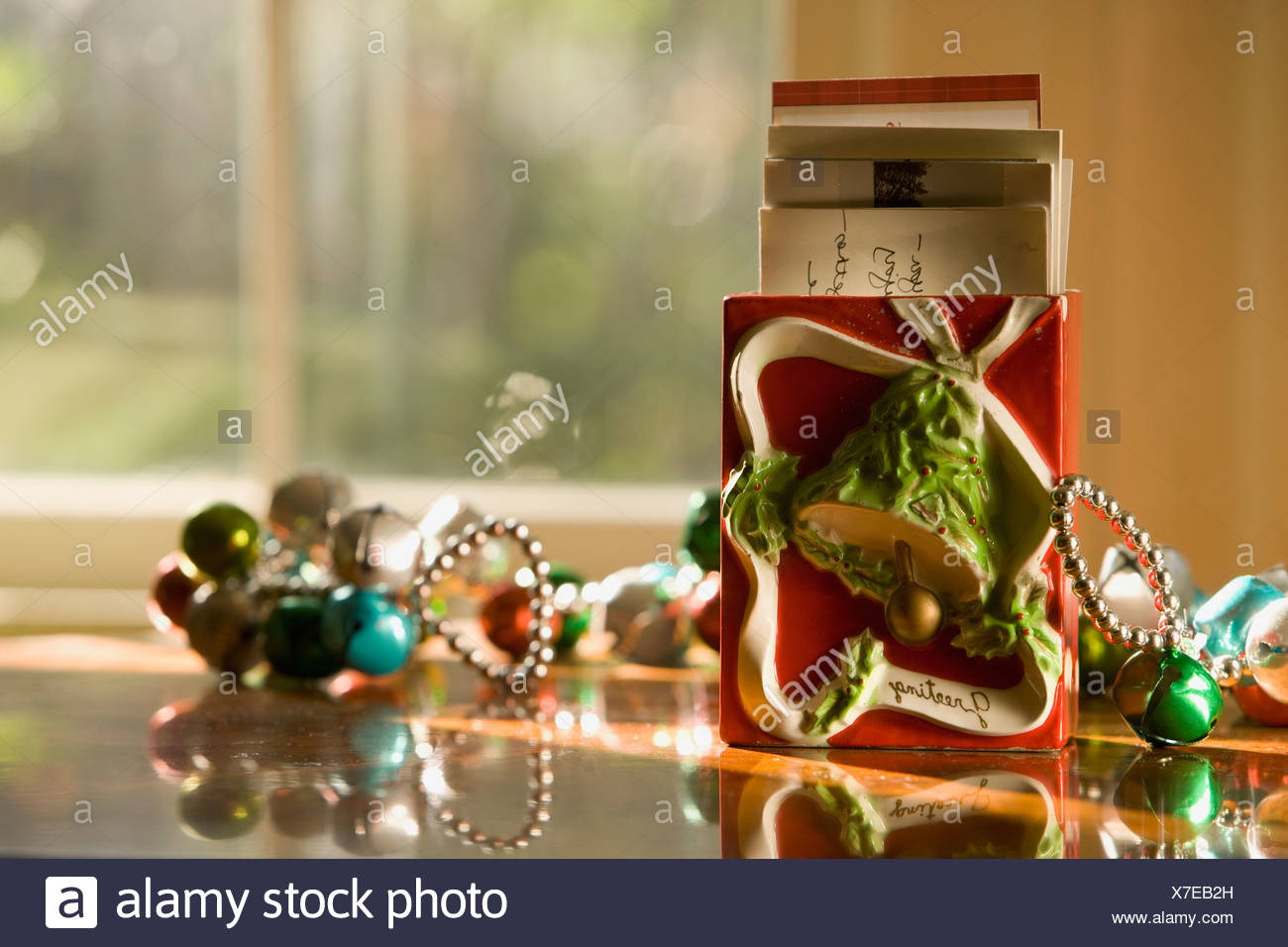 Christmas Decorations On Table Stock Photo 279984505 Alamy