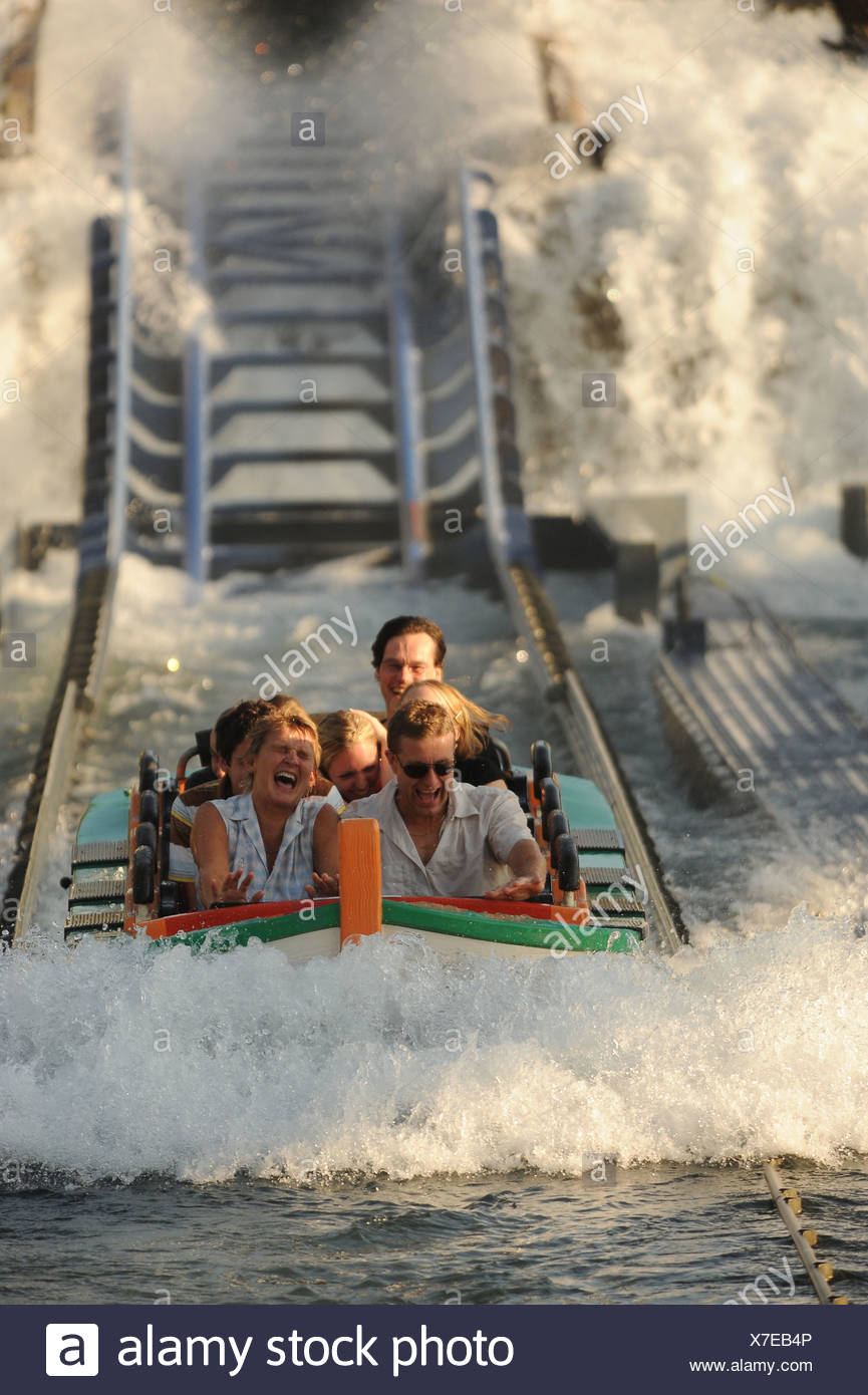 Rust, Germany, water roller coaster at Europa-Park Rust - Stock Image