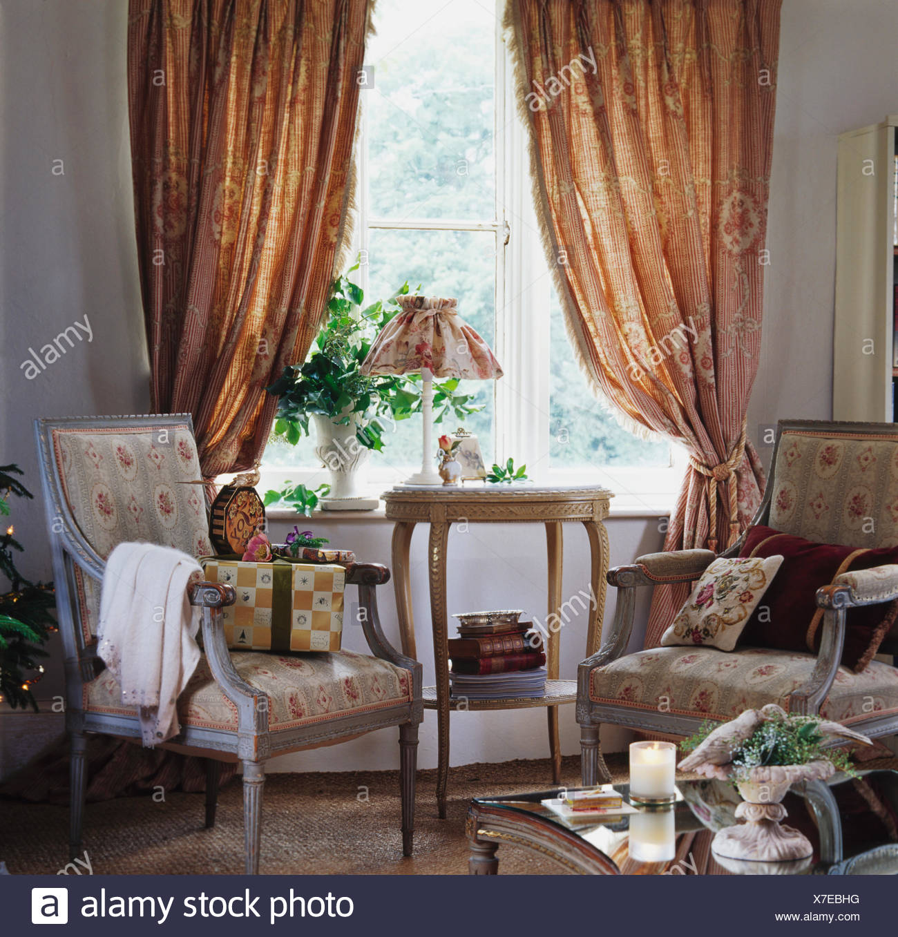 Tremendous Floral Armchairs In Front Of Window With Patterned Heavy Download Free Architecture Designs Scobabritishbridgeorg