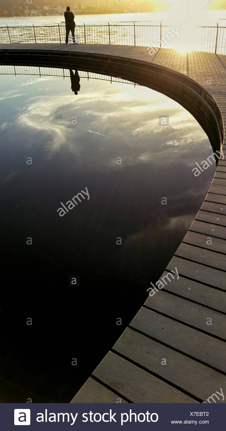 High Angle View Of Pier Over Lake Zurich - Stock Image