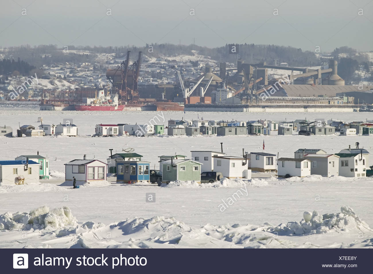 Canada Quebec Saguenay fjord fisher-alms North America Saguenay-St. Lawrence Marine park houses little houses alms tradition - Stock Image