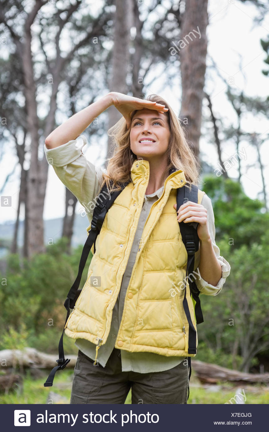 Woman observing something - Stock Image