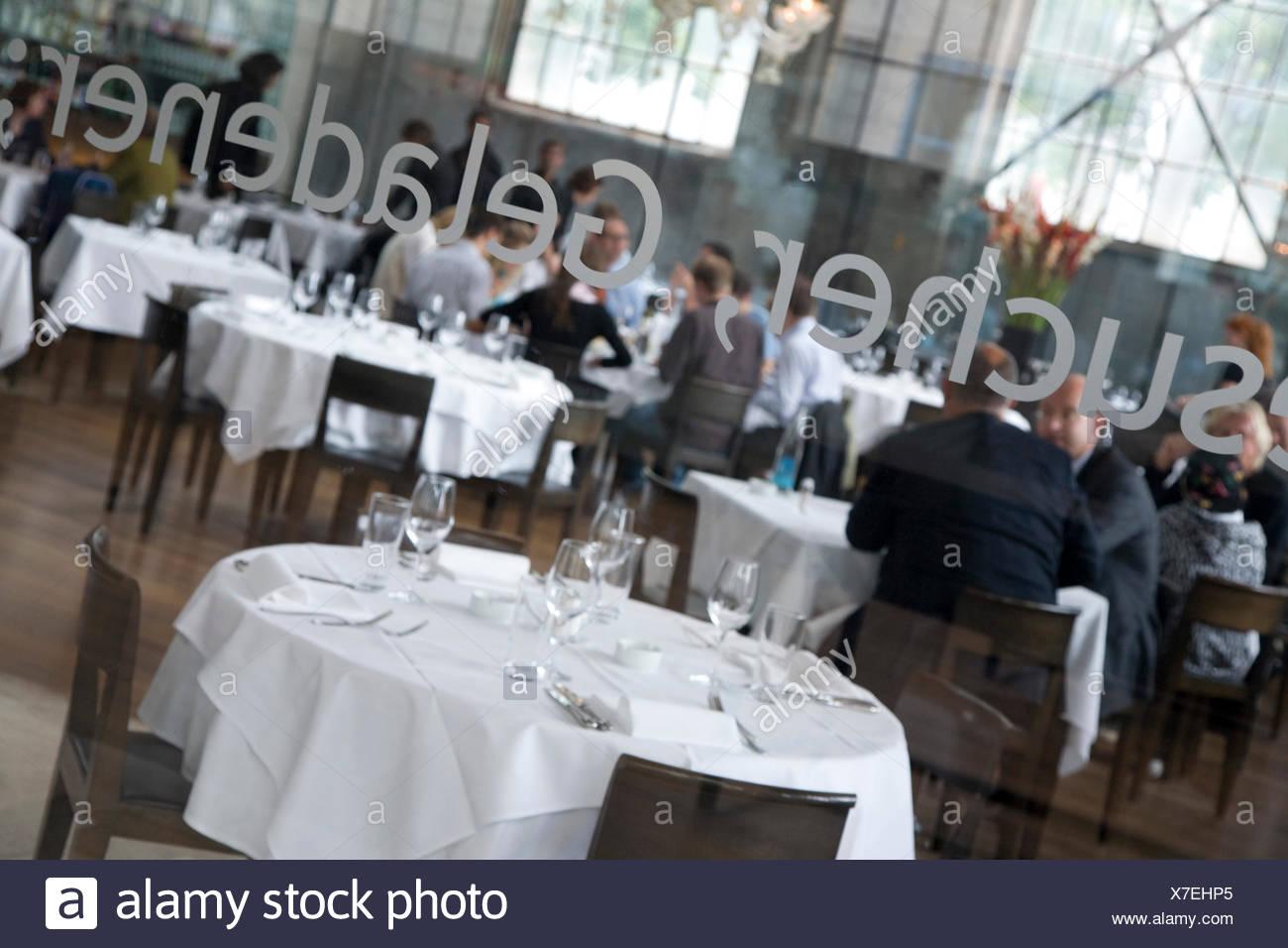 La Salle restaurant, luxury restaurant, shipbuilding hall, centre for theatre, music, gastronomy, Zurich, Switzerland - Stock Image