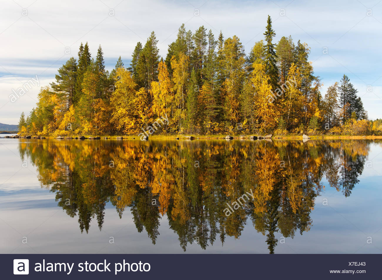 Autumn landscape with a reflection in the lake - Stock Image