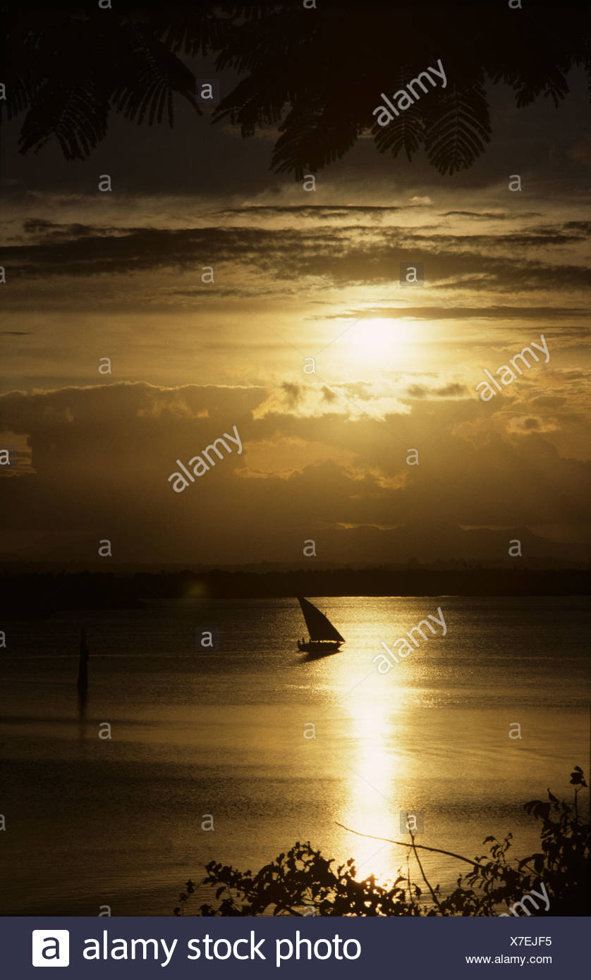 Sea dhow making its way back into Tanga harbour at sunset, East Africa - Stock Image