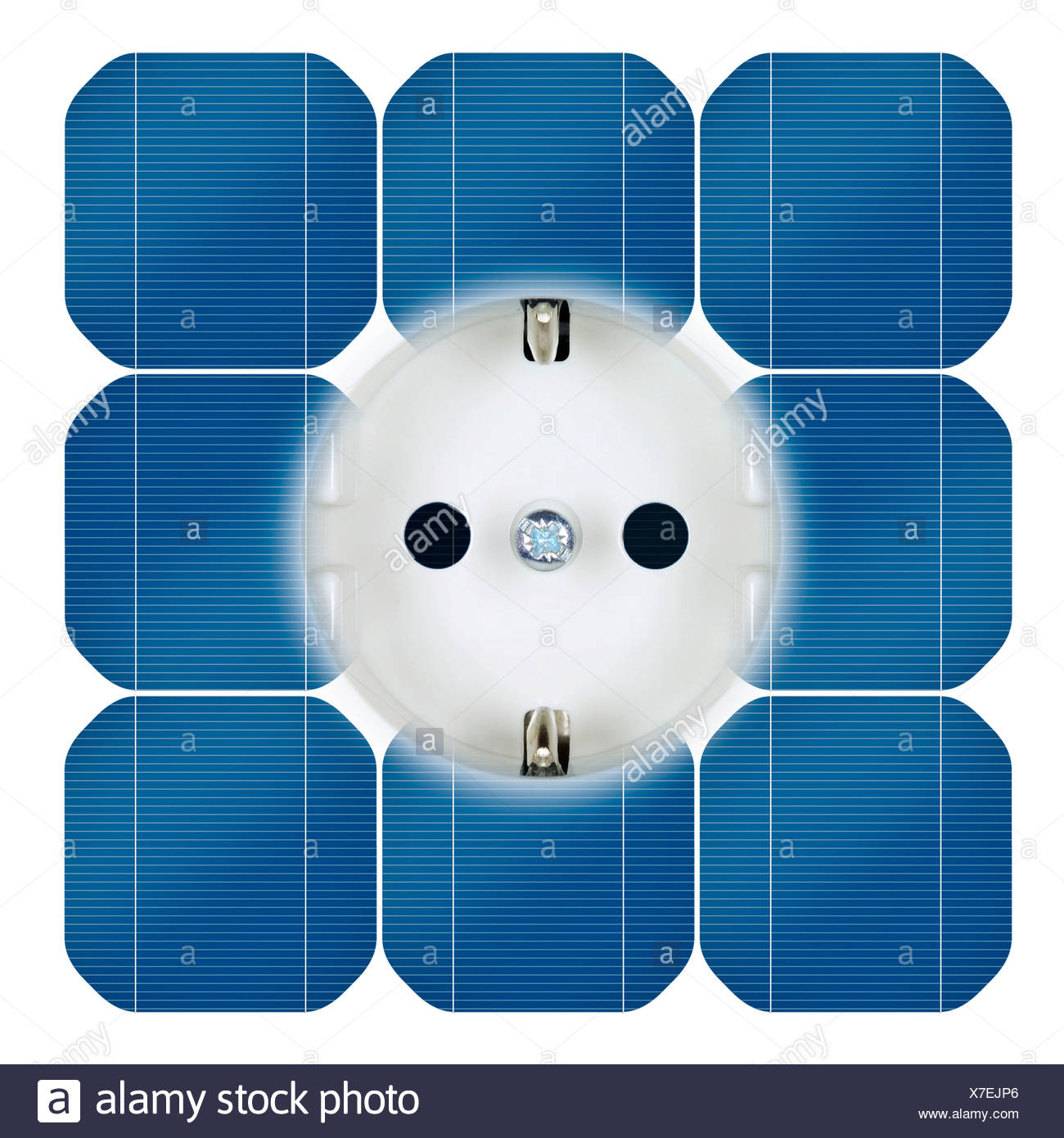 Outlet with power from solar power - Stock Image