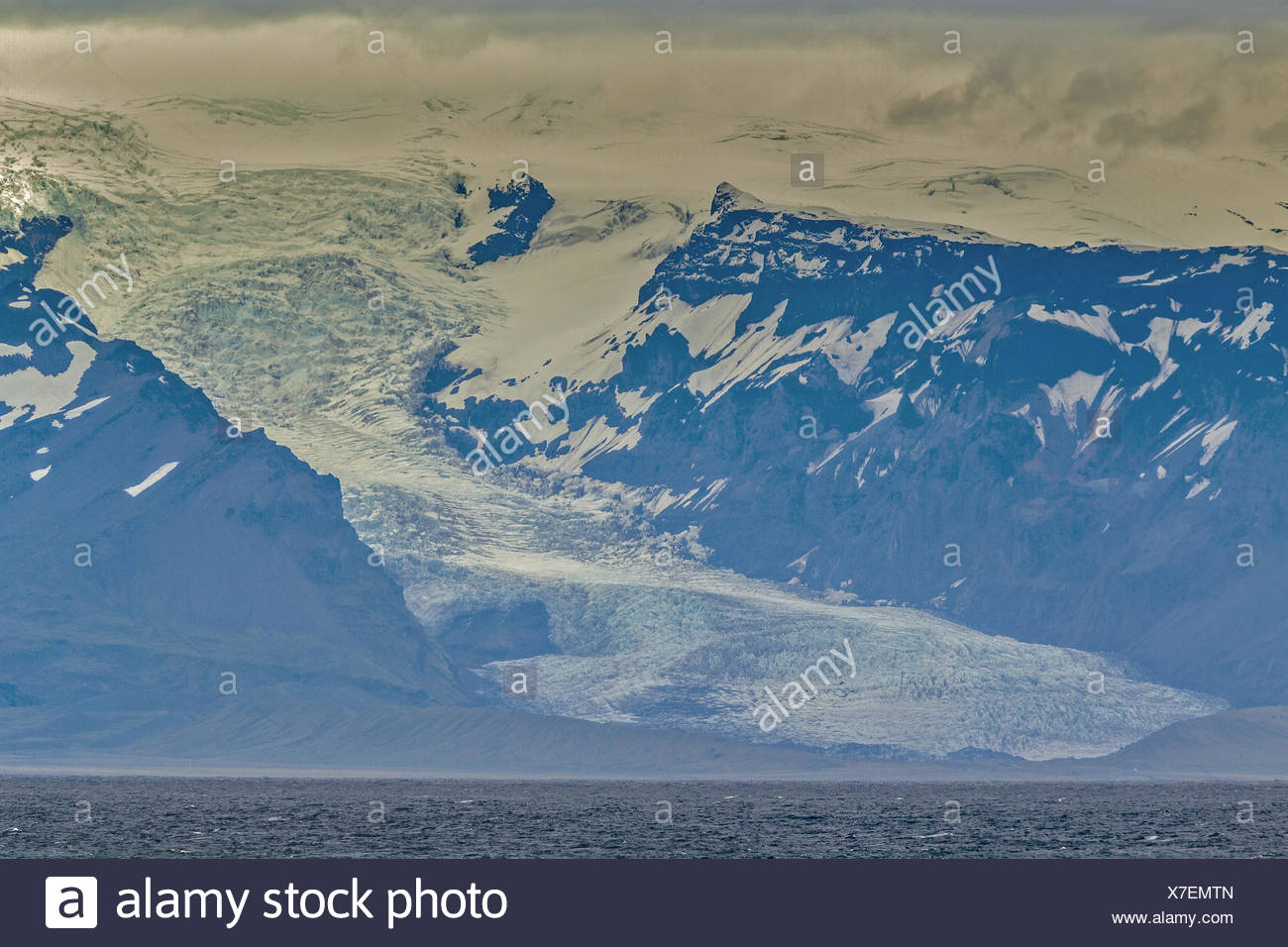 Glacier Reaching The Sea Iceland - Stock Image