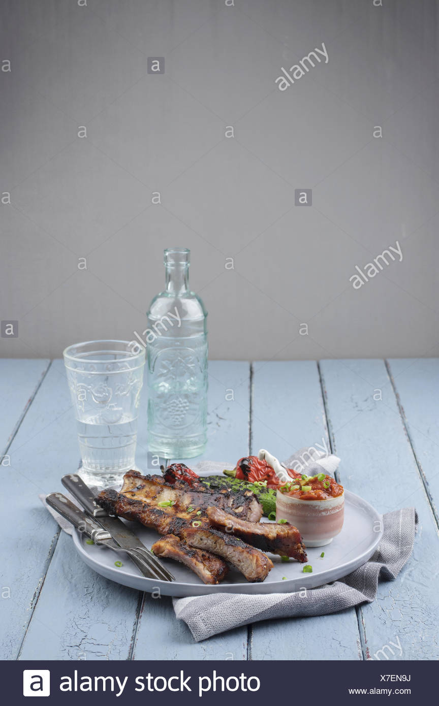 Spare Ribs on Plate - Stock Image