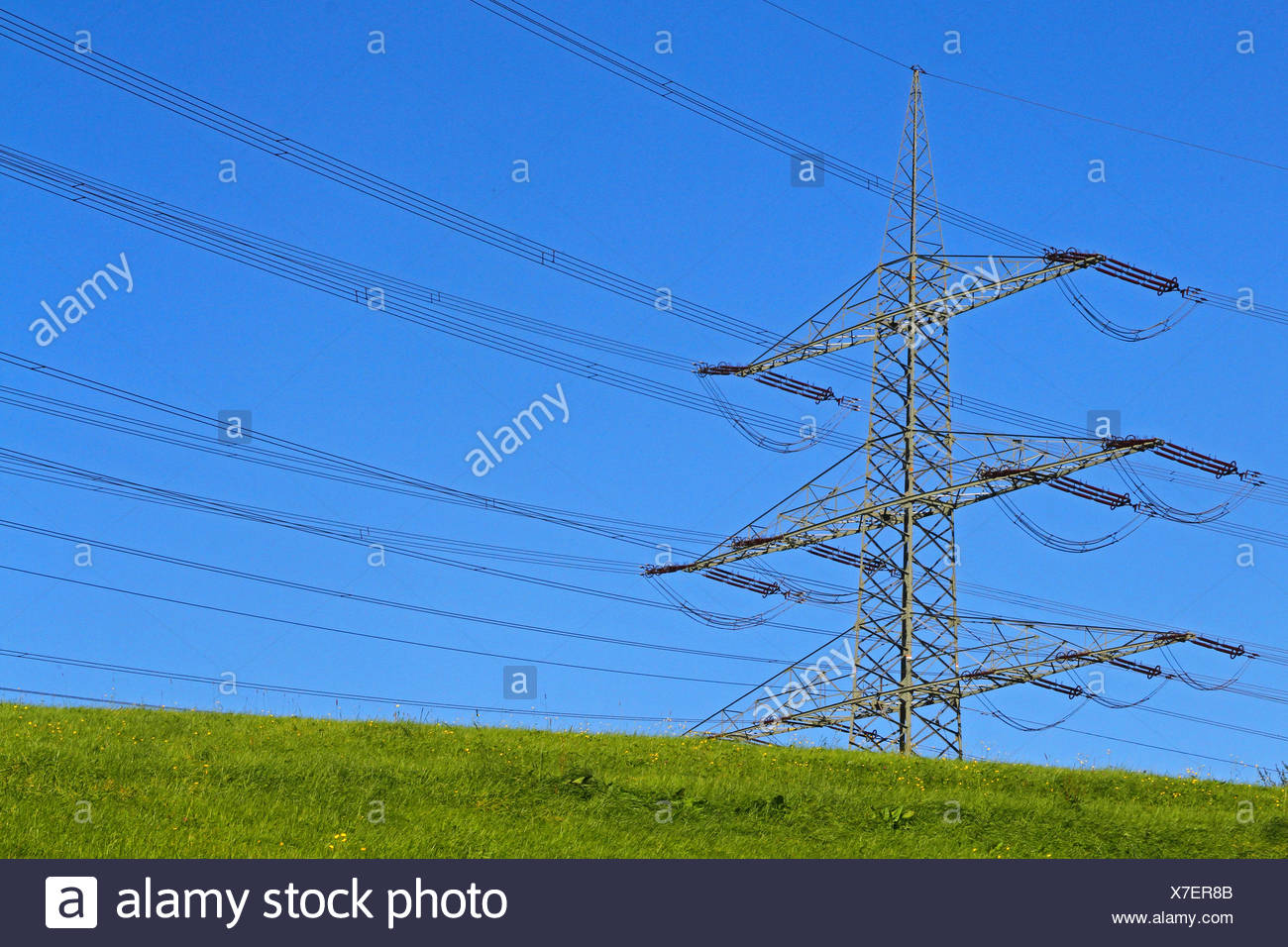 overland power lines, Germany - Stock Image