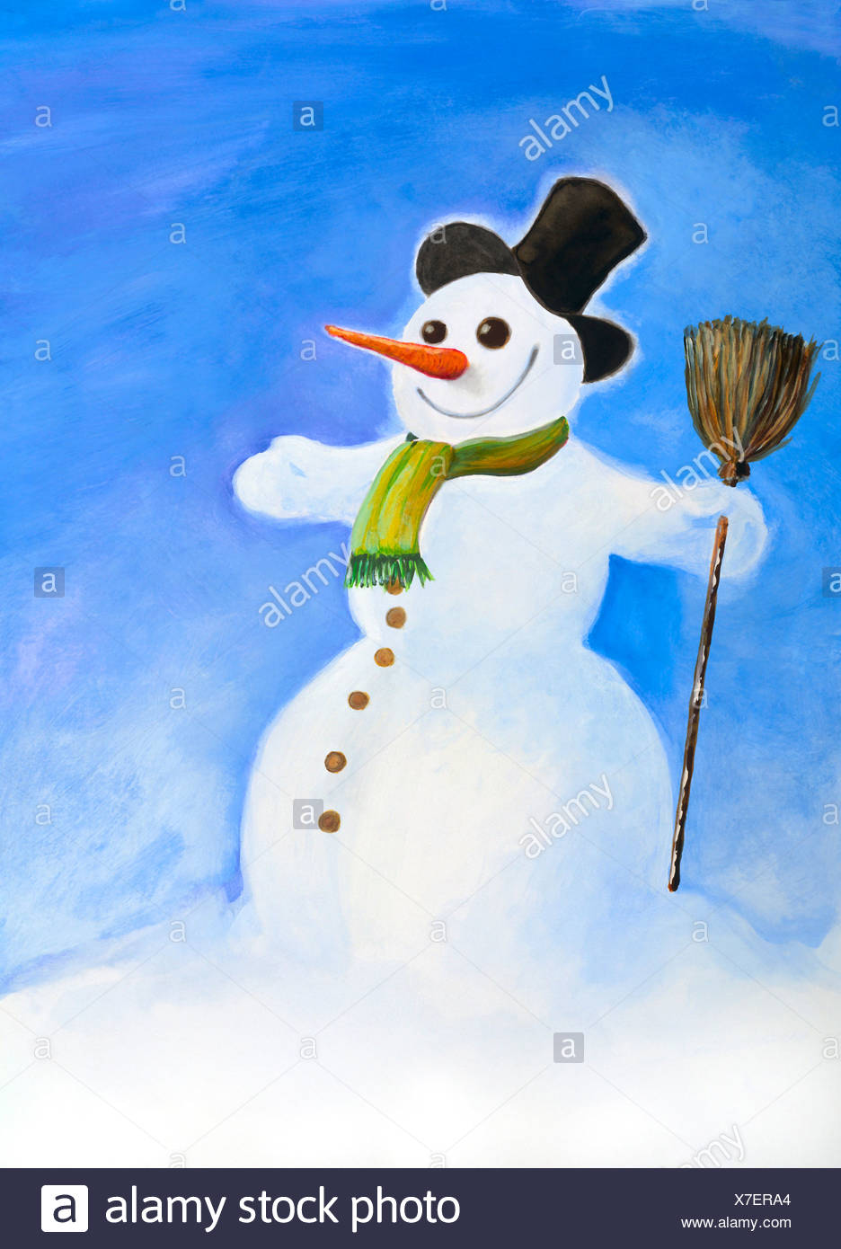 Snowman, illustration - Stock Image