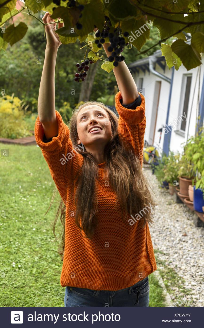 Yound woman in her garden, near Vienna, Austria (model-released) Stock Photo