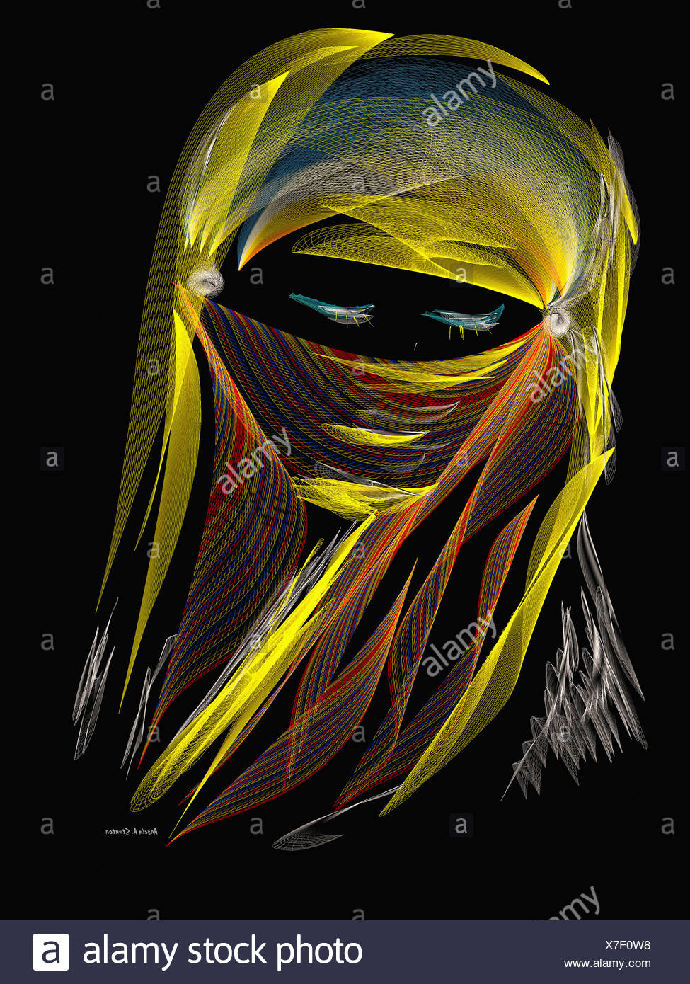 Computer Generated Image Of A Woman's Eyes Peering From A Headscarf - Stock Image