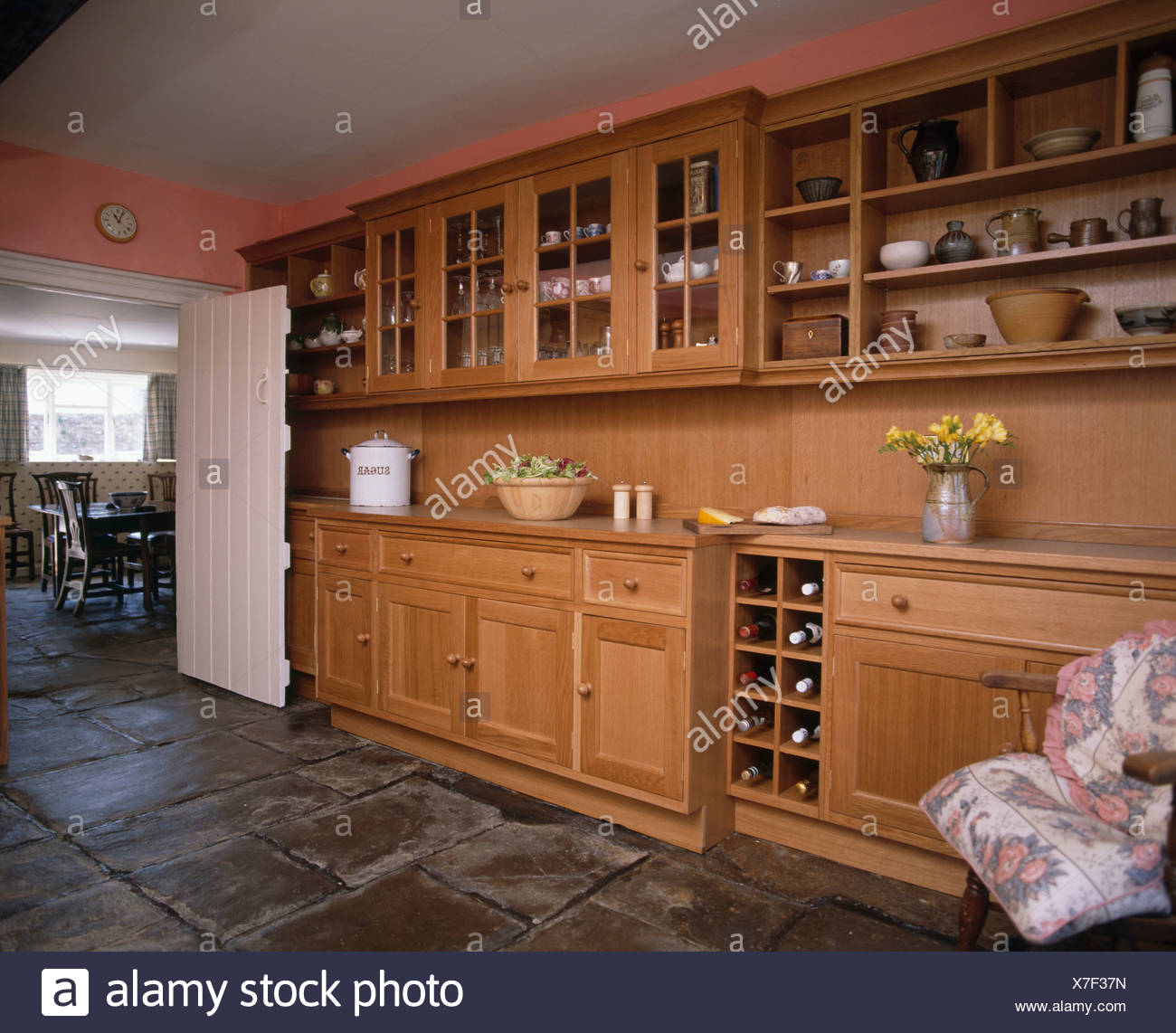 Pine Wood Units And Wall Cupboards With Glass Doors In Eighties