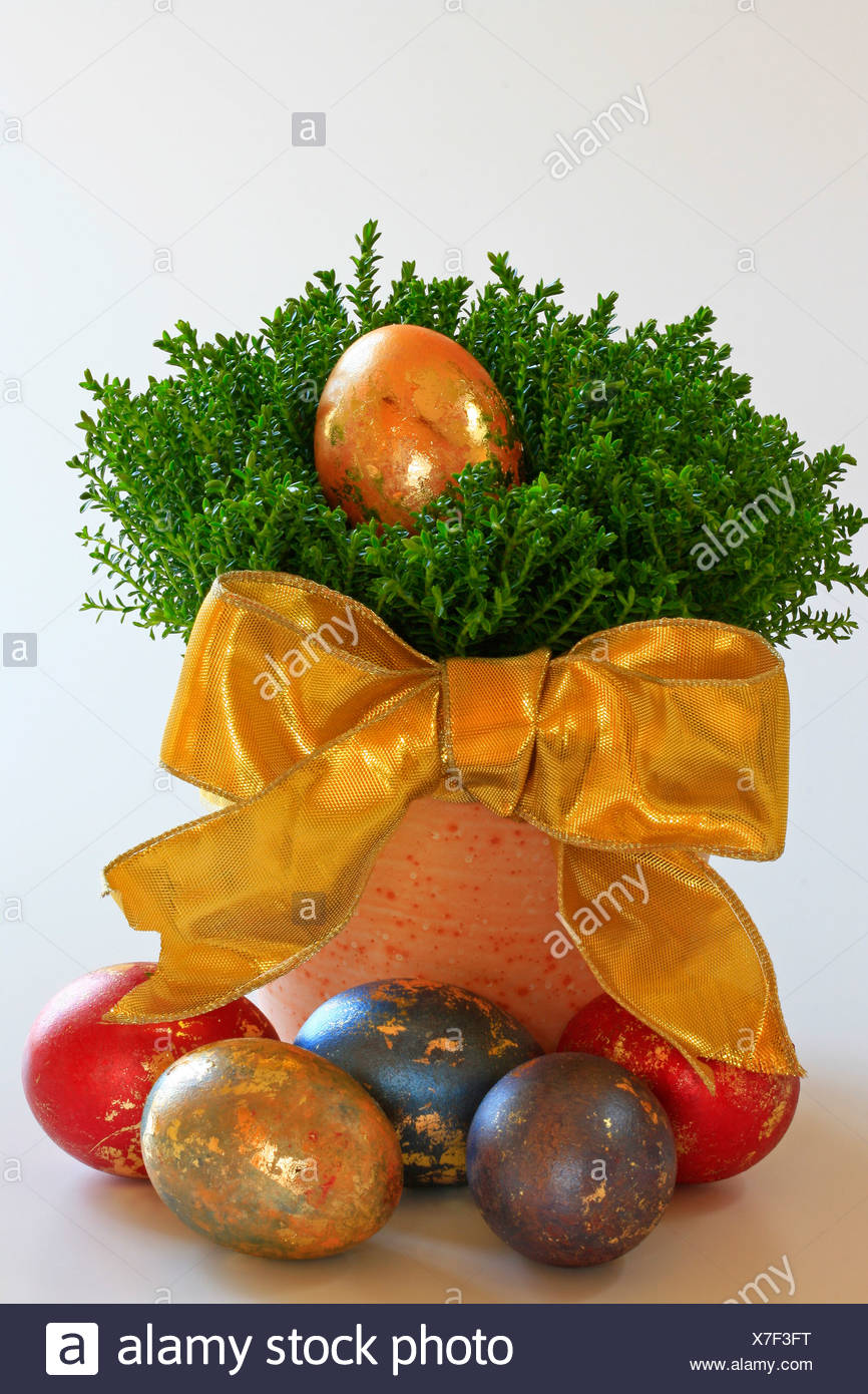Coloured easter eggs with golden ornament Stock Photo