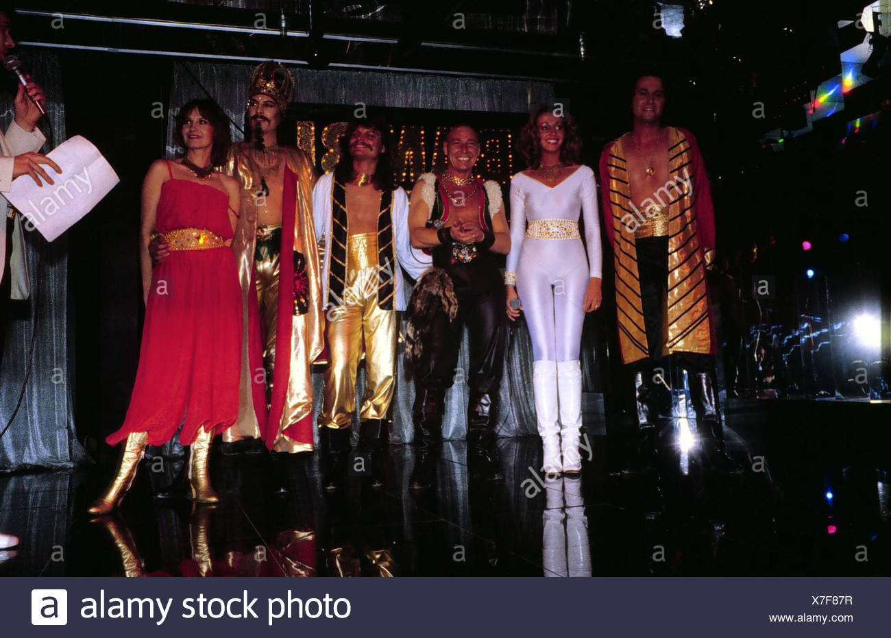 Genghis Khan (Dschinghis Khan), German pop group, group picture, on stage, wearing costumes, early 1980s, Leslie Mandoki, Henrie Stock Photo