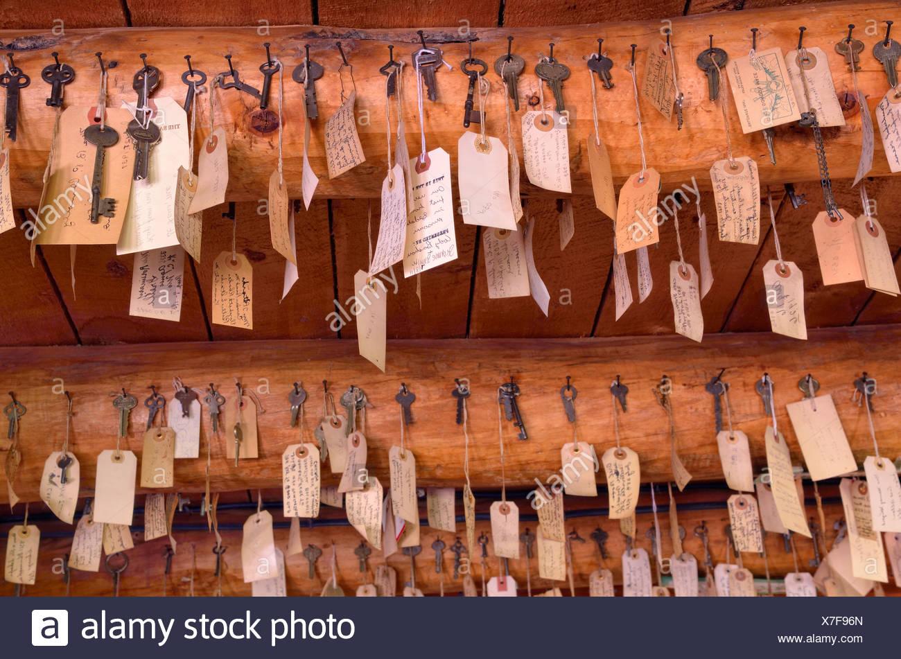 Collection of keys, The Baldpate Inn, Estes Park, Colorado, USA - Stock Image
