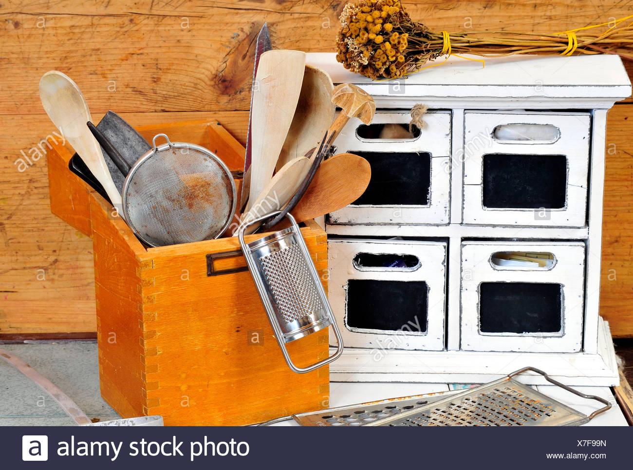 old kitchen helper kitchen utensils - Stock Image