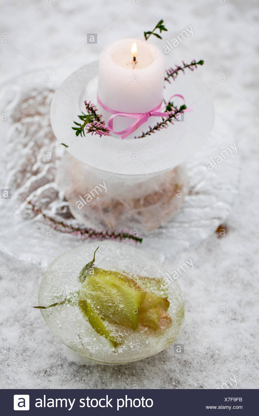2 Small Glass Candle Water Rose Flower Sprigs Of Heather Ribbon Procedure 1 Put A In Plastic Bowl Pour Into