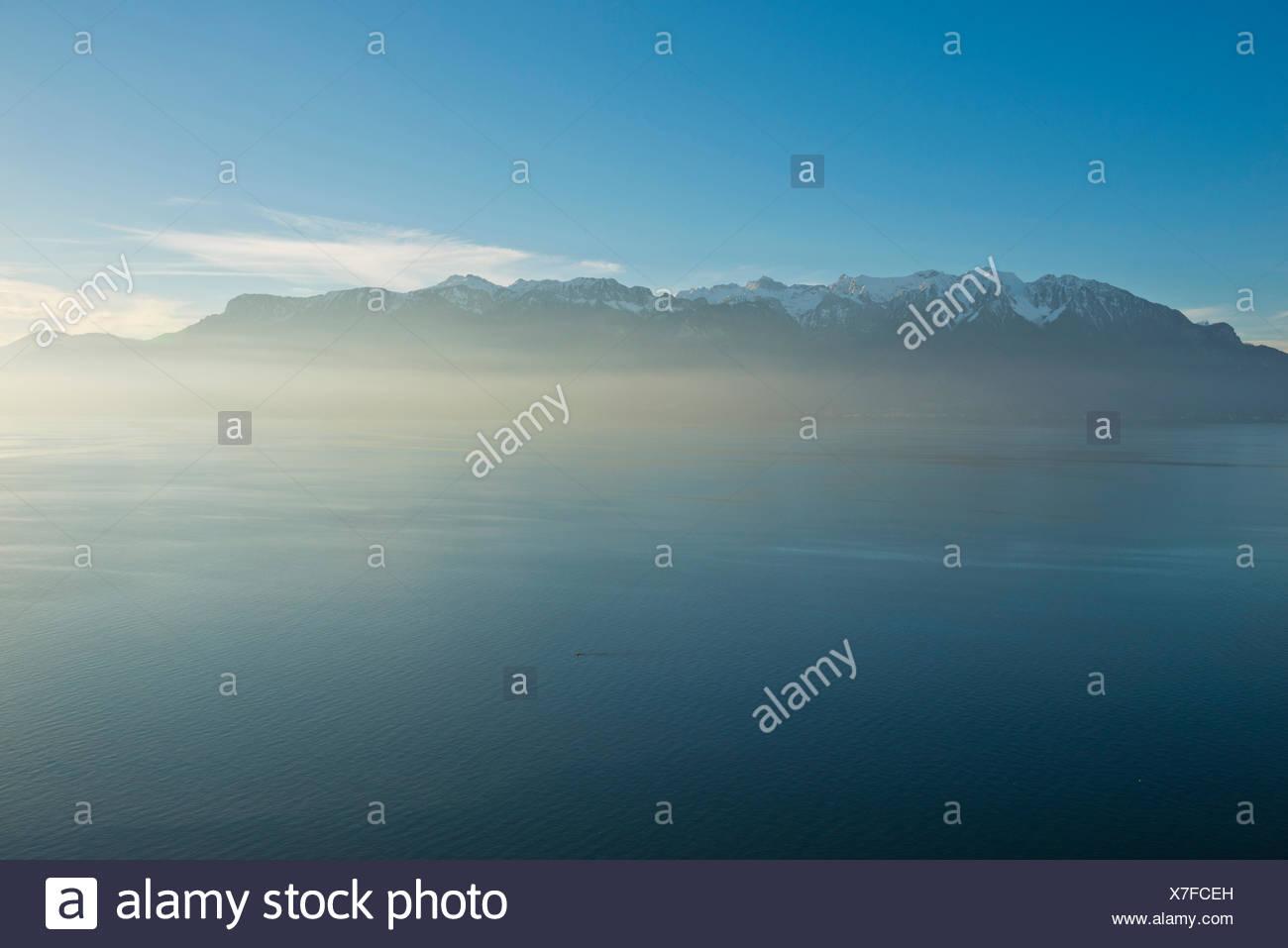 Switzerland, autumn, cloud, clouds, Lac Léman, lake Geneva, lake, Vaud, - Stock Image