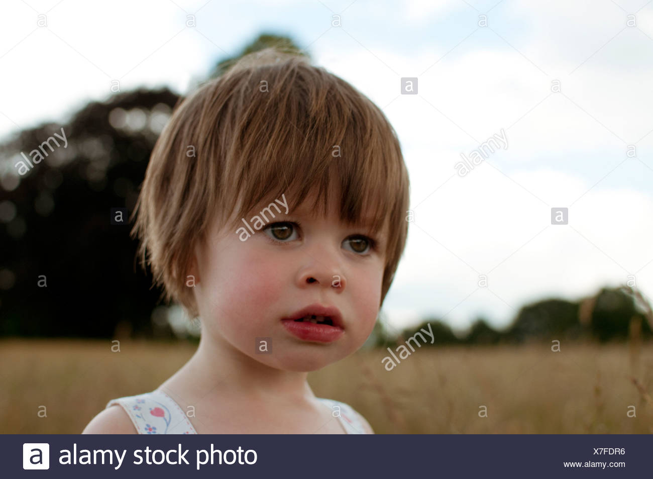 A portrait of a little girl outdoors - Stock Image