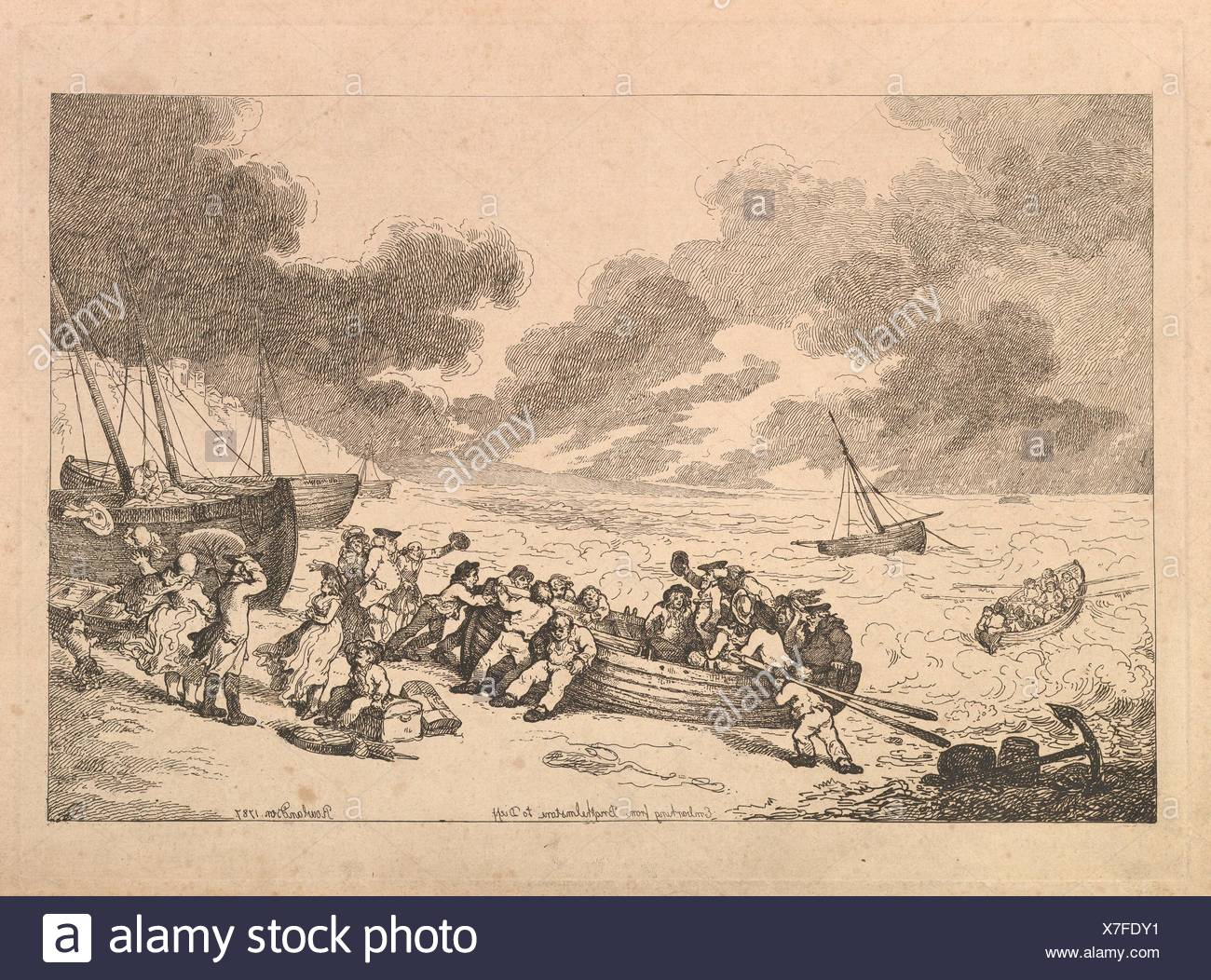 Embarking from Brighthelmstone to Dieppe. Series/Portfolio: Imitations of Modern Drawings; Artist: Thomas Rowlandson (British, London 1757-1827 - Stock Image