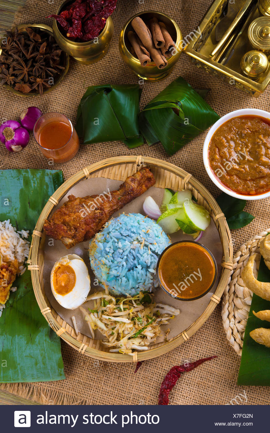 Traditional Malaysian Food Nasi Kerabu Is A Type Of Nasi Ulam Popular Malay Rice Dish Blue Color Of Rice Resulting From The Petals Of Butterfly Pea Flowers Asian Cuisine Stock Photo Alamy