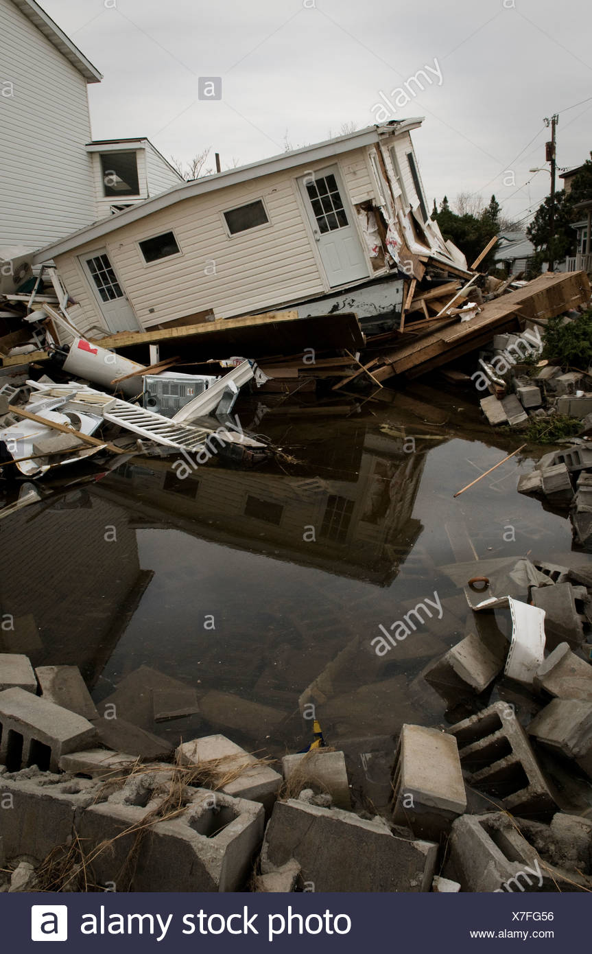 Hurricane Sandy Afthermath in Breezy Point, NY. - Stock Image