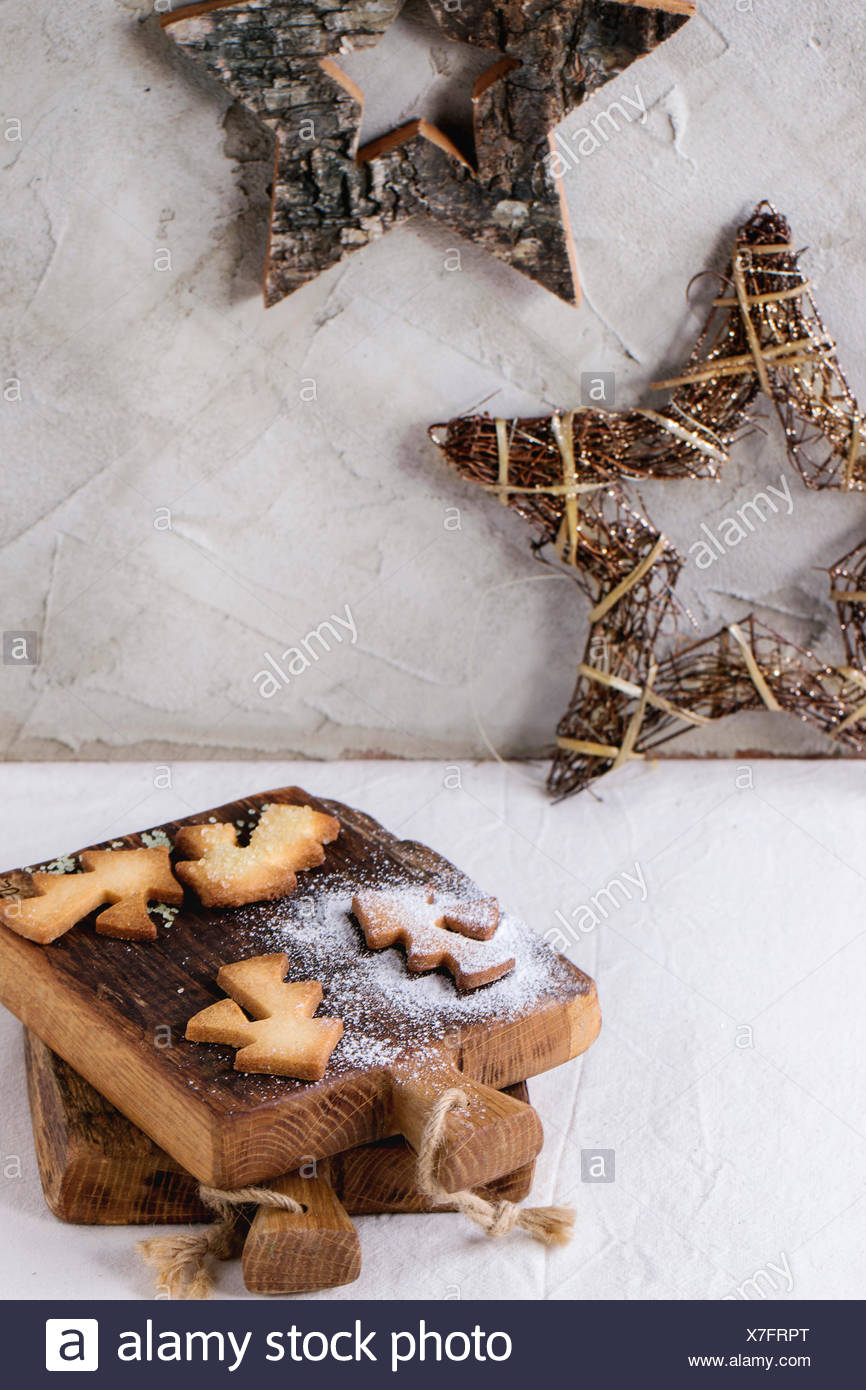 Shortbread Christmas Cookies For Cups In Sugar Powder On Small