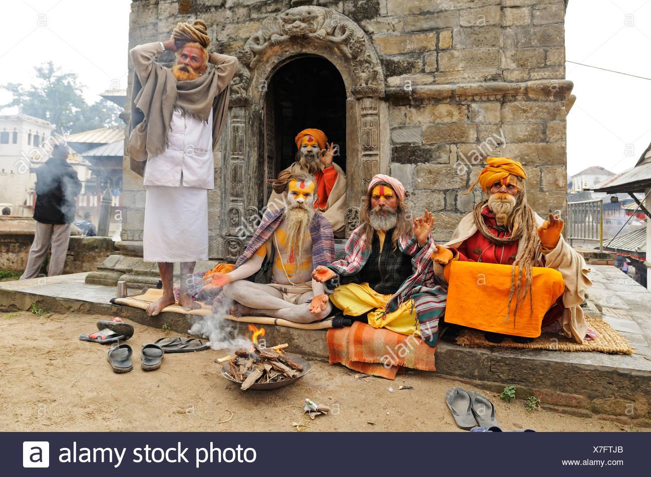 Sadhus in Pashupatinath, Kathmandu, Kathmandu Valley, Nepal, Asia - Stock Image