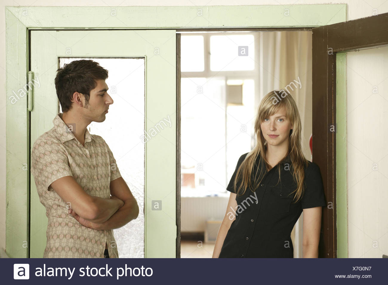 Front door, openly, couple, fight, distance, man, view ...