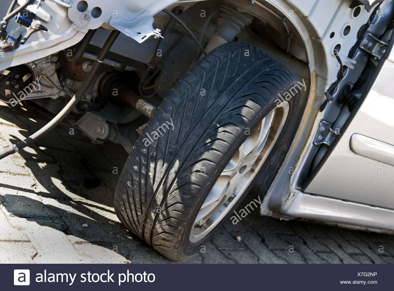 Detail of a car accident Stock Photo