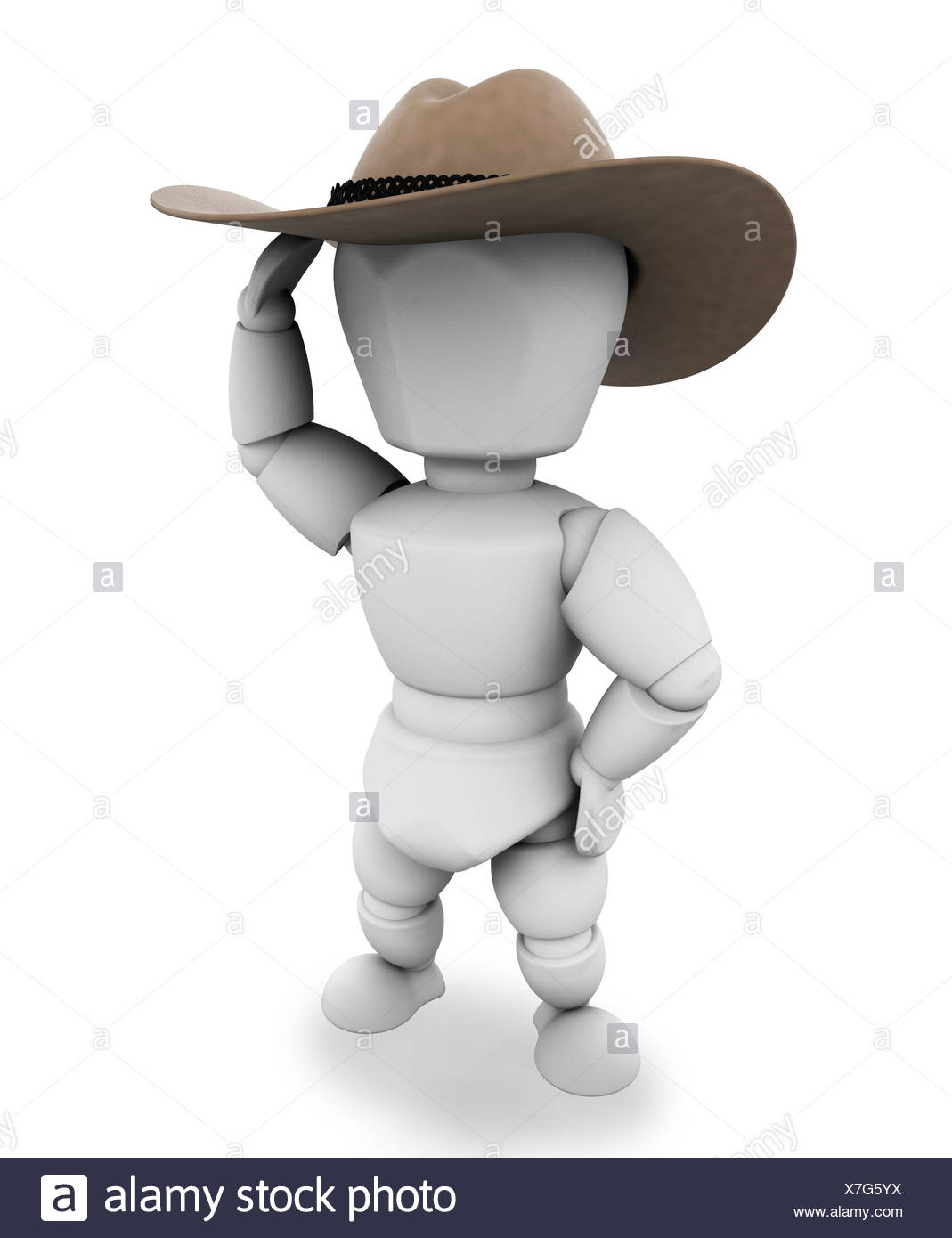 93edf84faa2 3D render of a cowboy with stetson hat Stock Photo  280024414 - Alamy
