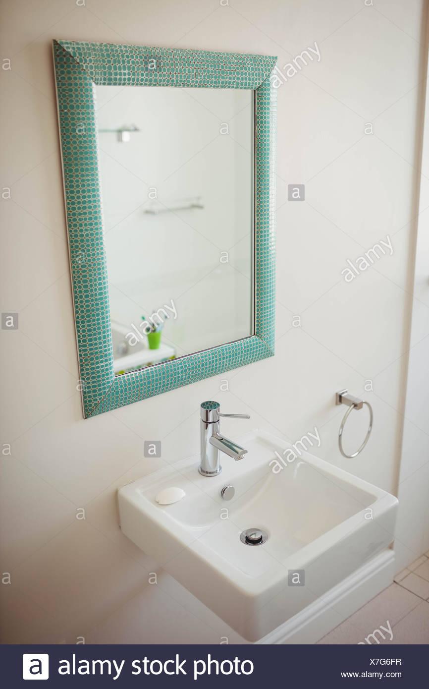 Mirror Above Bathroom Sink Stock Photos & Mirror Above Bathroom Sink ...