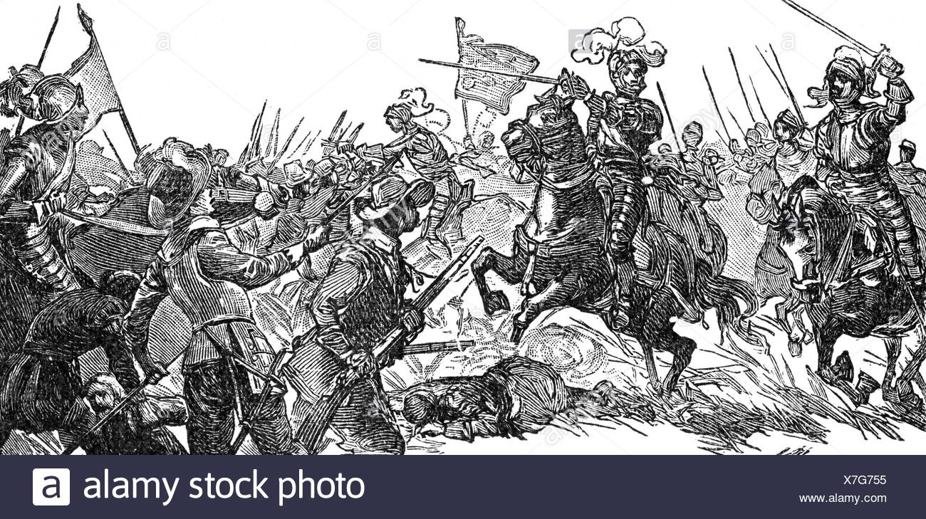Henry IV, 13.12.1553 - 14.5.1610, King of France 27.2.1594 - 14.5.1610, in the Battle of Fontaine-Francaise, 5.6.1595, wood engraving, 19th century, , Additional-Rights-Clearances-NA - Stock Image