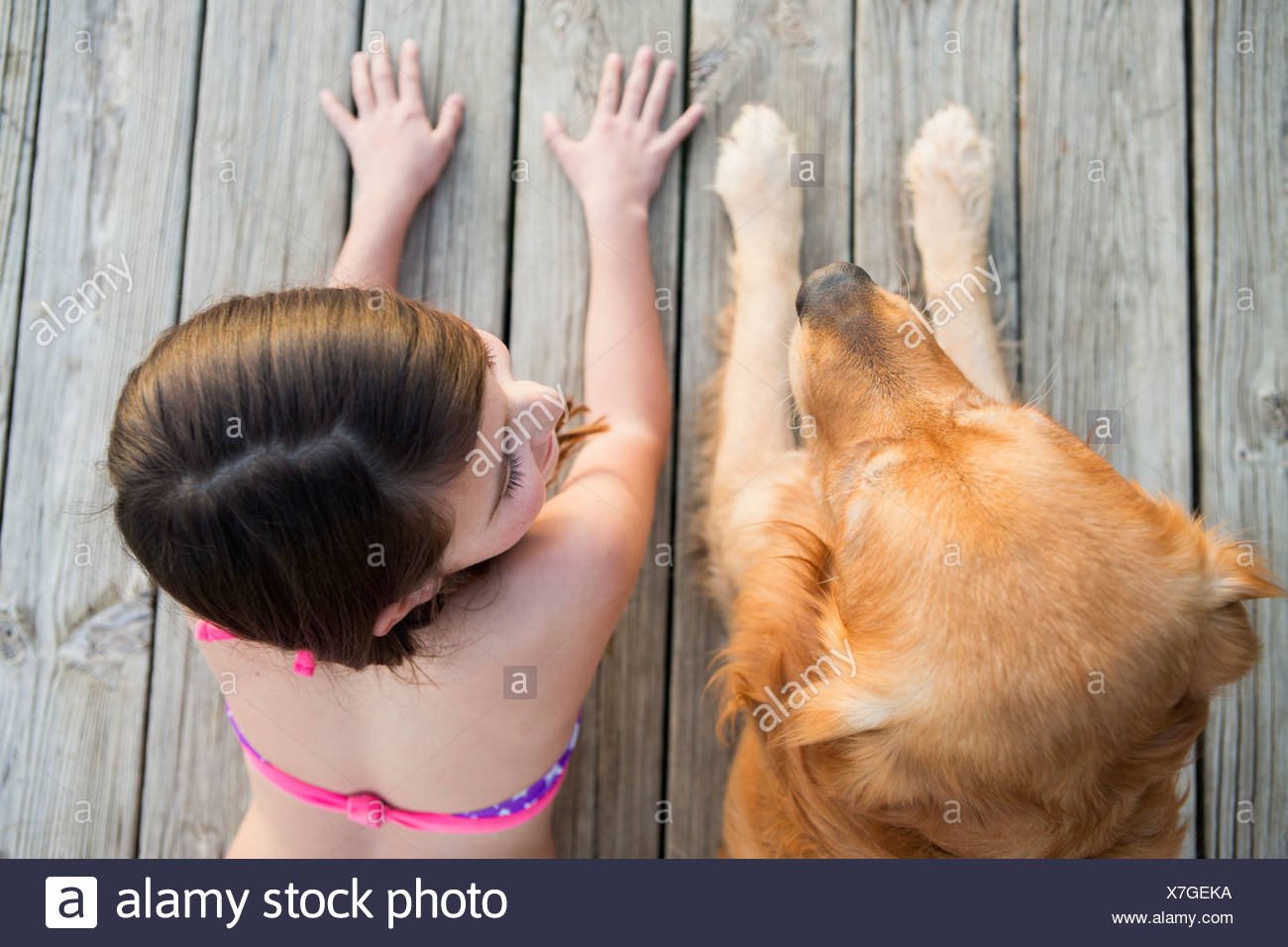 A young girl and a golden retriever dog side by side on a jetty. - Stock Image