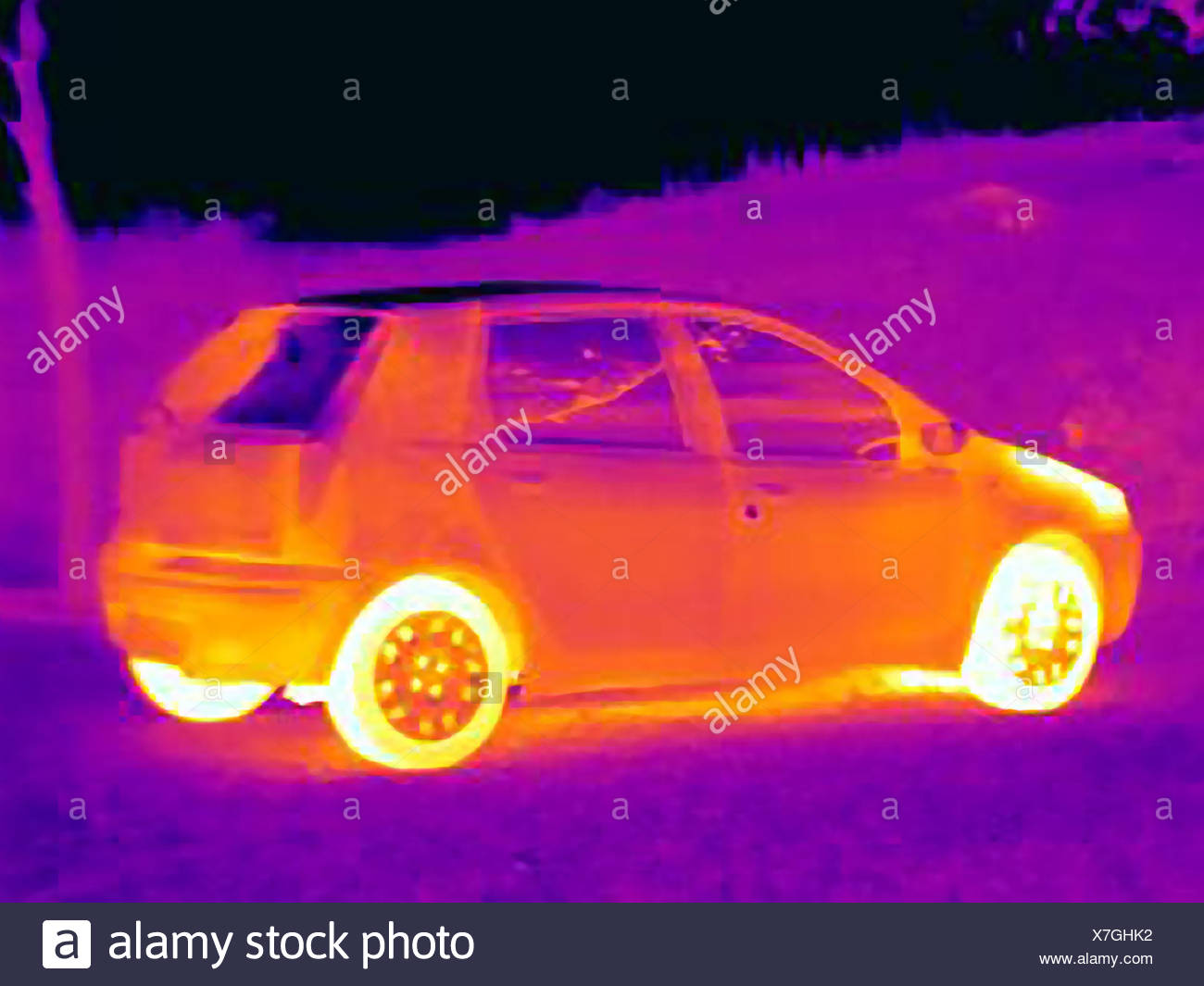 Thermal image of car - Stock Image