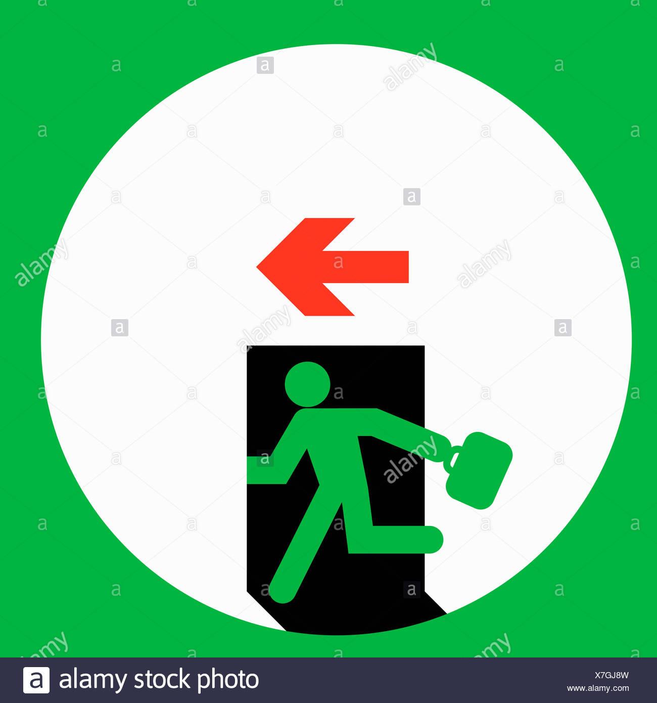 Businessman running through exit door - Stock Image