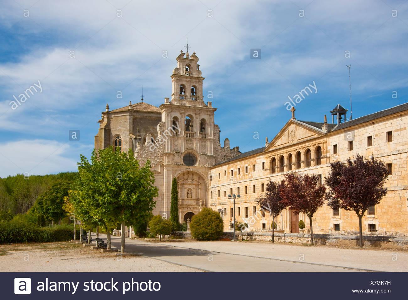 Spain, Europe, Castile Leon, cloister, monastery, La Vid, bell tower, belfry, religion - Stock Image