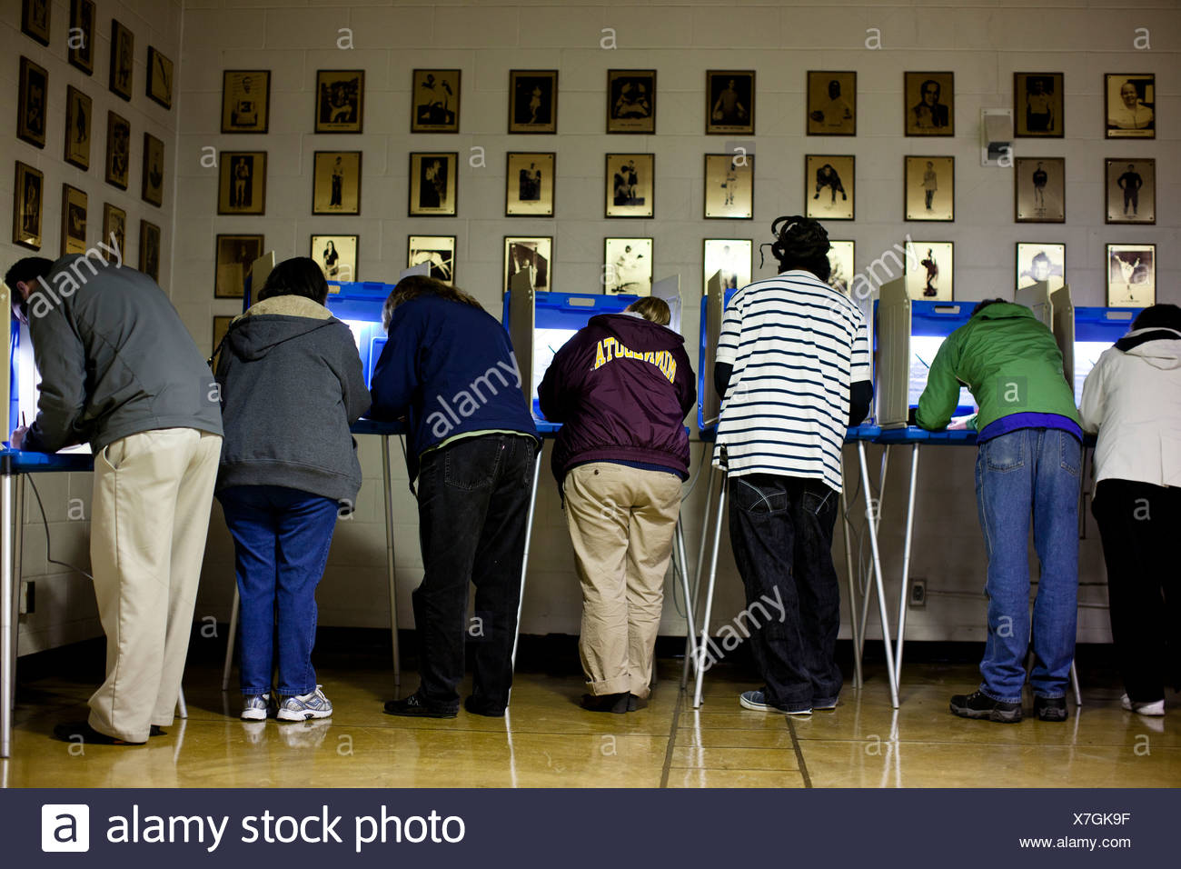 Voters at the polls on election day 2012, Edison High School, NE Minneapolis, MN. - Stock Image