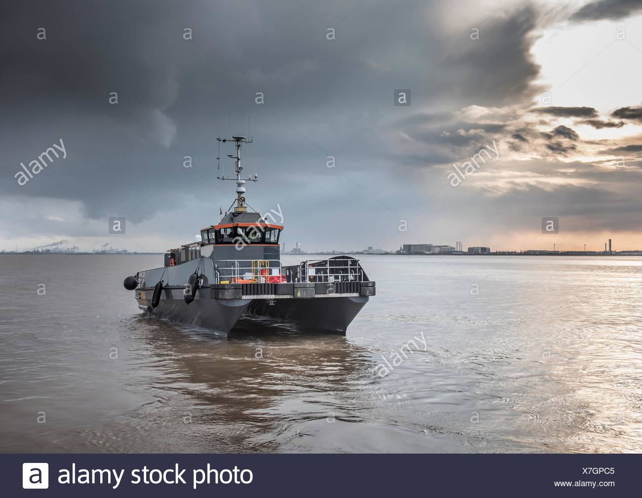Offshore wind farm service tender boat - Stock Image