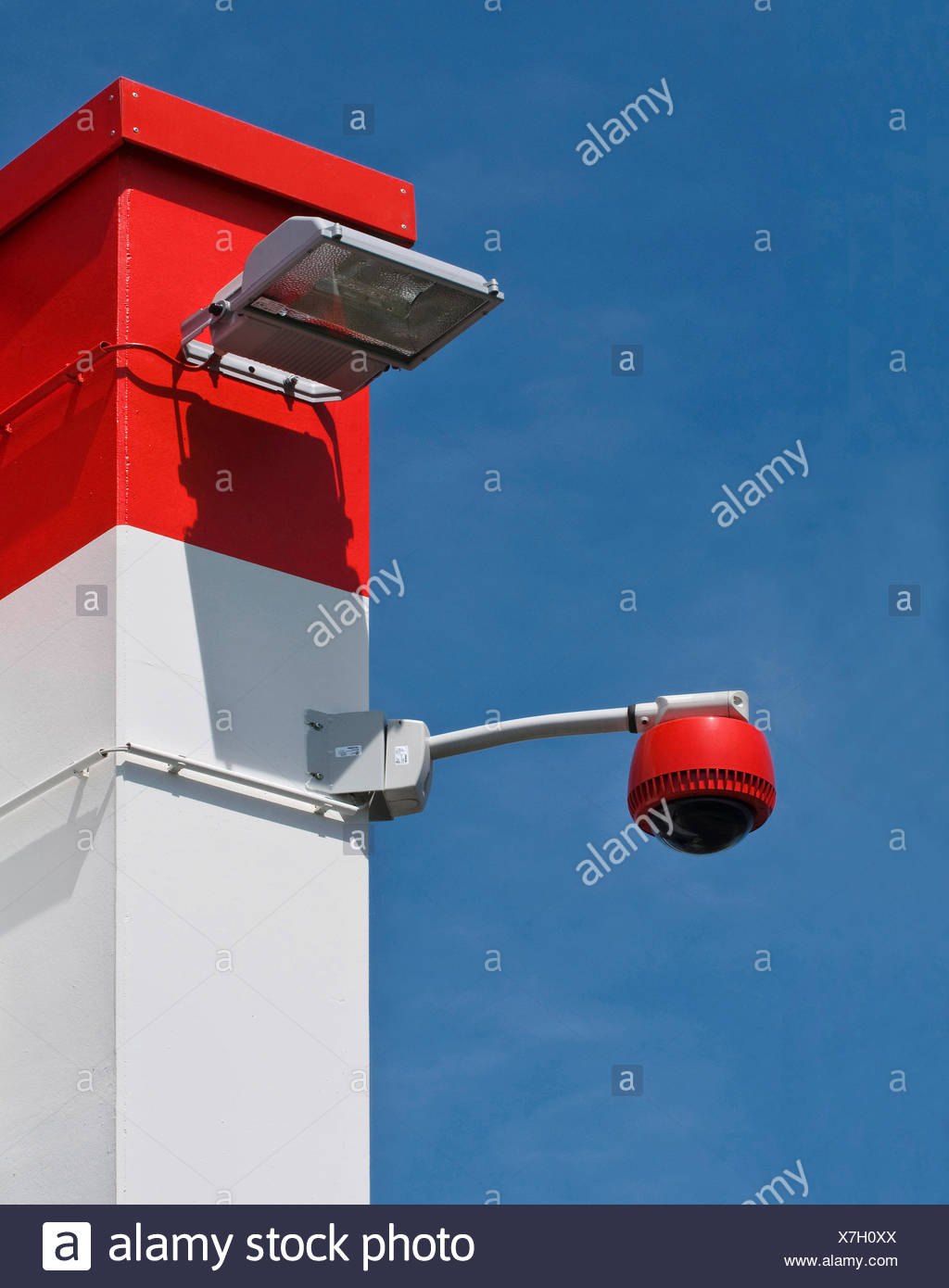 360-degree camera on wall against blue sky, monitoring, security, PublicGround - Stock Image