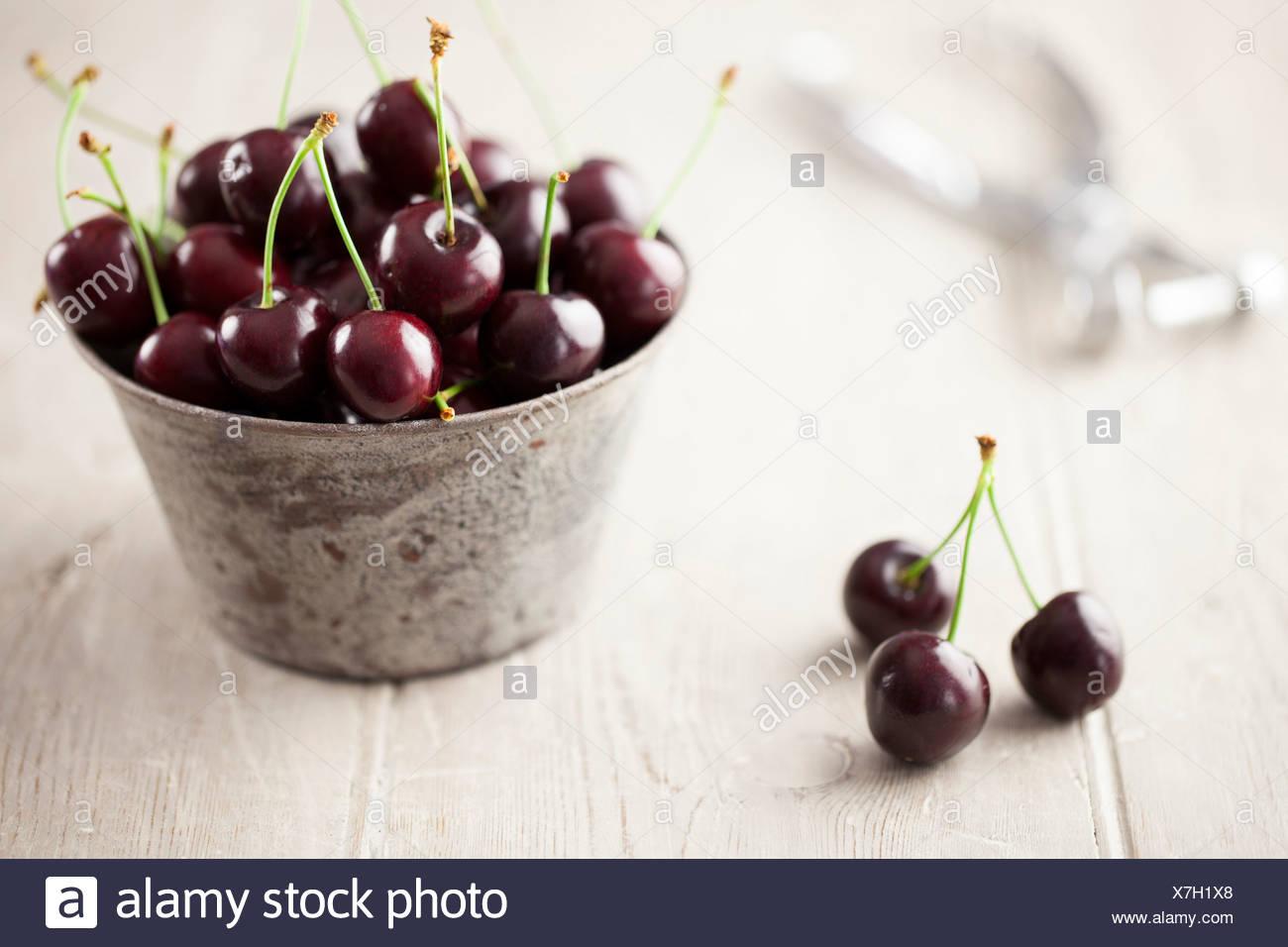 Engilsh Cherries in Metal Bowl - Stock Image