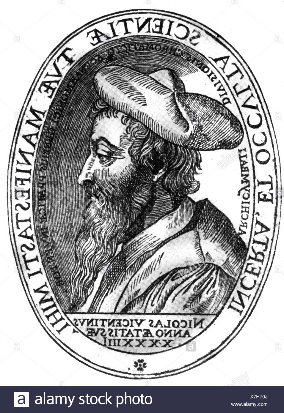 Vicentino, Nicola, 1511 - 1572, Italian composer, music theorist, portrait, side face, aged 44 years, after copper engraving, 1555, Artist's Copyright has not to be cleared - Stock Image