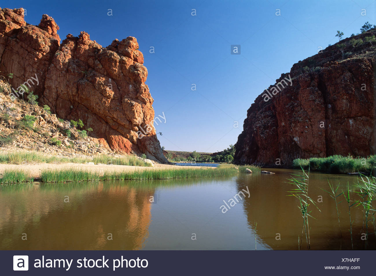 Glen Helen Gorge in the West MacDonnell National Park, Northern Territory, Australia - Stock Image