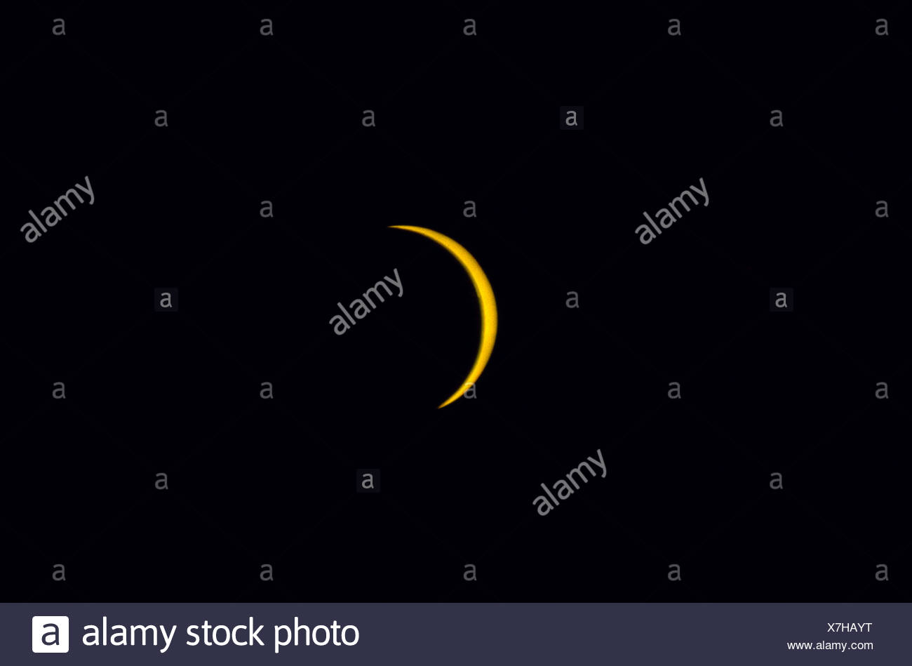 Eclipse of the sun seen from Le Havre France Sonnenfinsternis am 11 08 1999 gesehen von Le Havre Frankreich Querformat - Stock Image