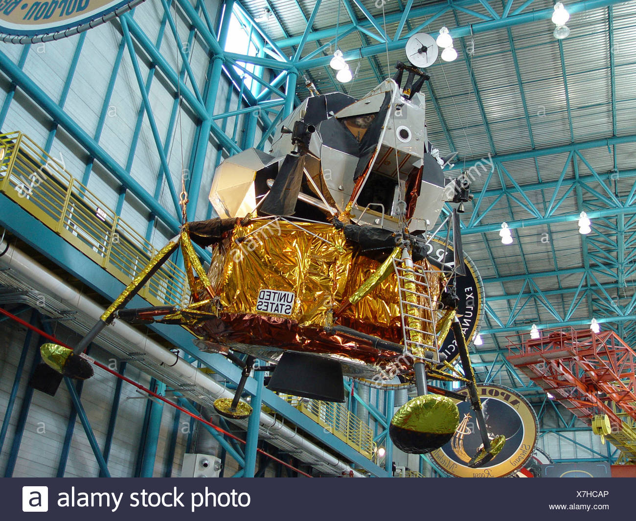 Apollo Saturn V cape Canaveral centre cover Florida Halle hang inside Kennedy Space centre LM9 lunar modul - Stock Image