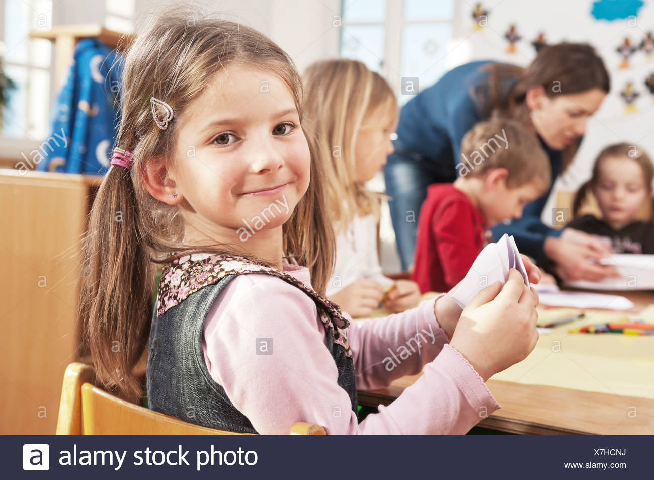 Children In Nursery School, Kottgeisering, Bavaria, Germany, Europe - Stock Image